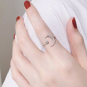NEW 925 Sterling Silver Moon Star Adjustable  Ring